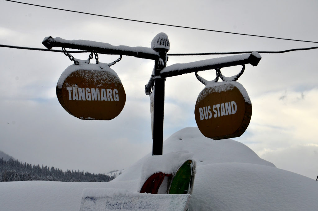 snow covered sign boards, gulmarg
