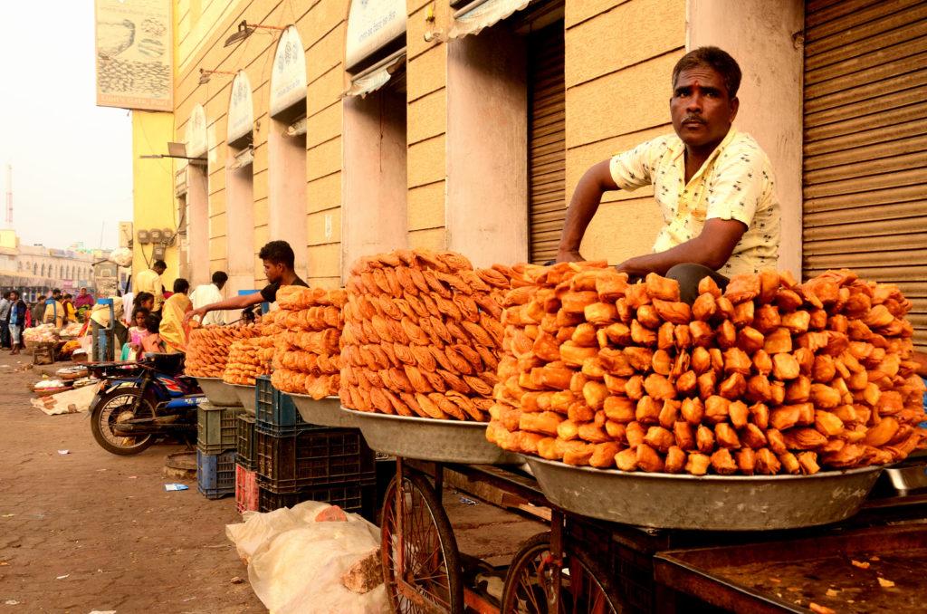 street vendors selling ' Khaja'