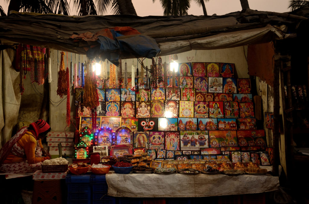 Shops selling pictures of Lord Jagannath at Puri