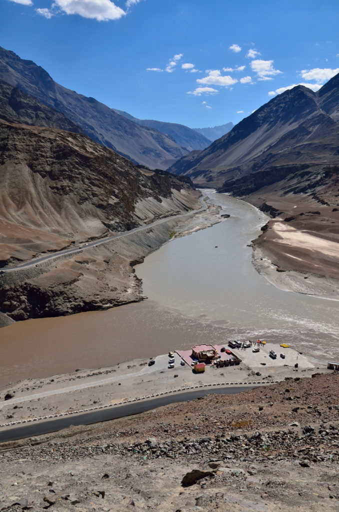 The Sangam point- the confluence of rivers Sindh (with muddier waters) and Zashkar (clearer water) at Leh