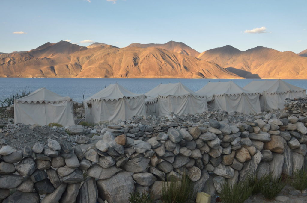 A camp site along the Pangong Lake.